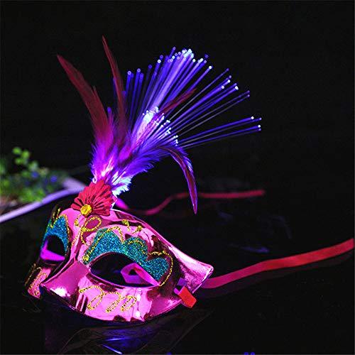 Starall Mode Frauen LED Masken Halloween Maskerade Party Kostüm Requisiten Damen Mädchen Prinzessin Feder Maske (Rose Red)