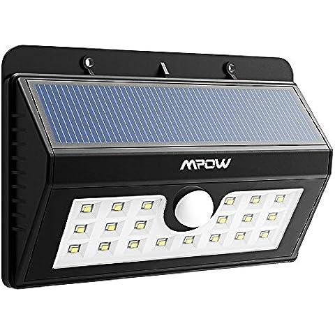 Mpow Foco Solar LED Luz Solar Lampara con Sensor de Movimiento para Exterior Jardín, Patio,Terraza, Escaleras, Camino de entrada, Iluminación y Seguridad de