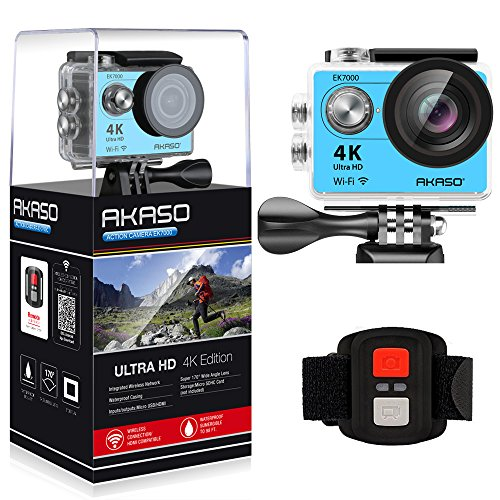 AKASO Action Cam 4K WIFI Sport Action Kamera 170° Ultra Weitwinkel Full HD Camera mit 12MP Helmkamera Wasserdichte Kamera 2.4G Fernbedienung zum auslösen mit 2 Batterien19 Zubehör Kits (Blau)