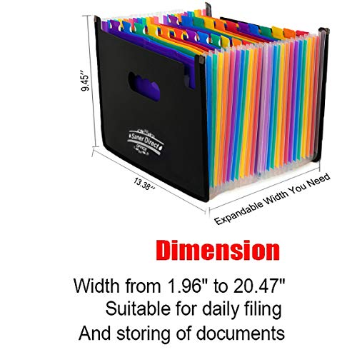 SanerDirect Expanding File Folder, 24 Pockets Multi-Color Accordion A4 Documents File Bill Letter Organiser, Plastic Portable Filling Storage with Big Capacity Expandable Wallet Stand Img 1 Zoom