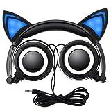 Auricular con orejas de gato con cable, luz intermitente, plegable, destello azul parpadeante para Mp3