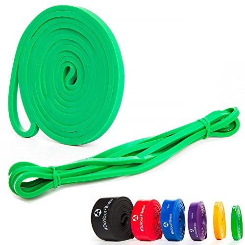 Fitnessbänder / PowerBands aus 100% Latex in Studio-Qualität »PullMeUp« - Die perfekten Rubber Bands & Sportbänder für effektives Krafttraining, Ganz-Körper-Workout, CrossFit, Stretching, Yoga, Bodybuilding , Powerlifting, Calisthenics oder Freeletics Workout - Widerstandsbänder ideal für den ganzen Körper - Die Gymnastikbänder ( Expander, Resistance Band & Bodytrainer ) sind in 5x unterschiedlichen Zugstärken erhältlich (leicht bis sehr hart) - grün