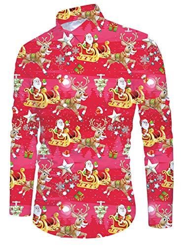 Funnycokid Xmas Hemd Herren Druck Tier Langarm Weihnachten Buttons Down Hawaii Style Herren Oberteile Rot