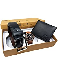 XPRA Analog Watch, Black PU Leather Belt & Black Leather Wallet For Men/Boys Combo (Pack Of 3) - (WL-3CMB-27)