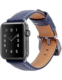 Correa Apple Watch 42mm,MisVoice Banda de Reloj de Reemplazo Correa de Cuero de Piel con para iWatch & Deporte& Edición Todos los Modelos iWatch Series 3, Series 2, Series 1 Azul