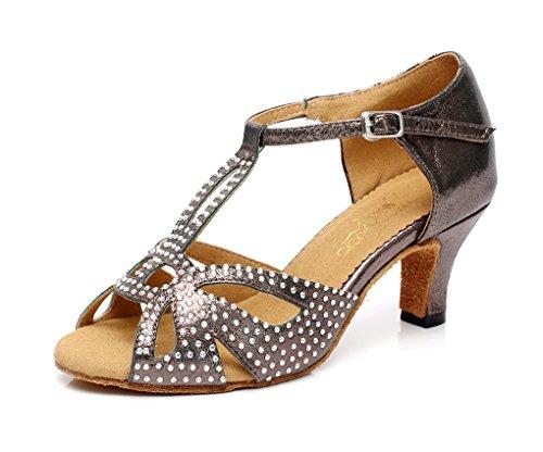 Minitoo QJ6182 Cristal femmes écoles de danse Satin latins chaussures Gris - Gris