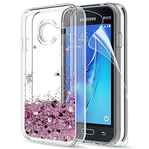 LeYi Hülle Galaxy J1 Mini Glitzer Handyhülle mit HD Folie Schutzfolie,Cover TPU Bumper Silikon Flüssigkeit Treibsand Clear Schutzhülle für Case Samsung J1 Mini (SM-J105) Handy Hüllen ZX Rot Rosegold