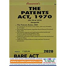 The Patents Act, 1970 - Bare Act 2020 Edition