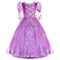 "Atorcher Long Hair Rapunzel Princess Dress Up Costume for Girls Party (4T / for Height 3"" 3-3"" 7, Dress)"