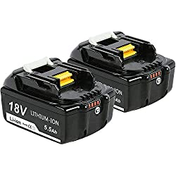 2X Dosctt BL1860B 18V 5,5 Ah Lithium Packs de Batterie Remplacement pour Makita BL1850B BL1850 BL1860B BL1860 BL1840B BL1830B 194204-5 196673-6 LXT-400 avec indicateur