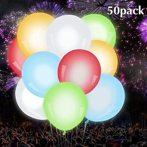 Luftballons 50 Stück 5 Farben Blinken Bunt LED Ballons für Hochzeit Weihnachten Geburtstag Luftballon Party Deko ()