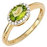 JOBO Damen-Ring 585 Gold Gelbgold teilrhodiniert 20 Diamanten 1 Peridot Größe 58