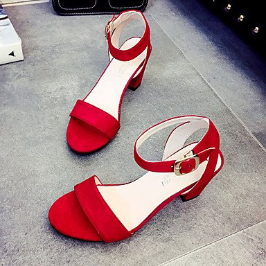 LvYuan Da donna Sandali Tessuto Estate Footing Fibbia Heel di blocco Nero Grigio Rosso 5 - 7 cm ruby
