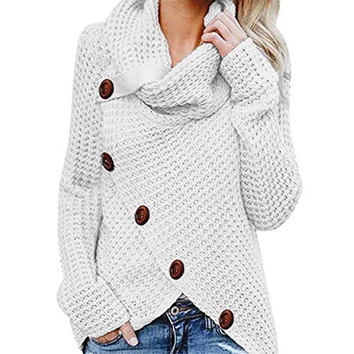 Yvelands Damen Pullover Rollkragenpullover Solid Sweater Warm Cable -