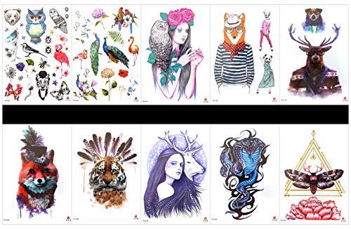 Pamo leone finto e vero, adesivi per tatuaggi temporanei che assomigliano a un vero tatuaggio tigre 6 pezzi in un pacchetto, compreso totem, leone, bussola, tigre, ecc.
