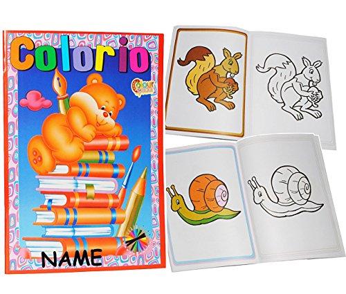 XL Malbuch mit bunten Bilder Vordrucken & 32 Seiten - incl. Namen - ideal zum 1. Malen - für kleine Kinder - Malvorlagen - Mädchen Jungen Malbücher - erstes Ausmalen / Tiere Auto Zootiere Figuren