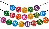 """Guirnalda de Cumpleaños Divertida """"Happy Fucking Birthday"""" (Feliz P*** Cumpleaños). Artículos, Accesorios y Decoraciones para Celebraciones – 21,30 Cumpleaños"""
