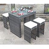 All Weather Brown Rattan Outdoor Garden Furniture 5 Piece Bar Set
