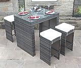 Alle Wetter braun Rattan Outdoor Gartenmöbel 5-teiliges Bar-Set