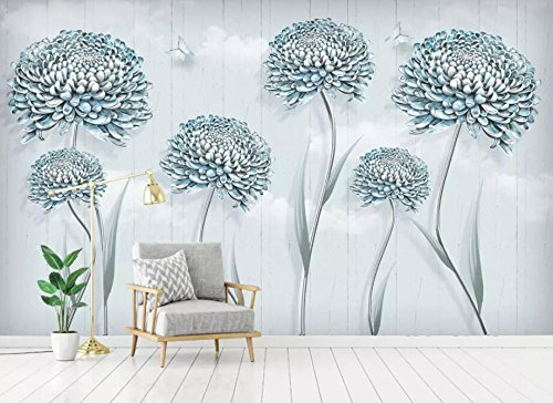 WH-PORP 3D Tapete kleine frische Blumen Löwenzahn Nordic dekorative Malerei 3D Hintergrund Wand-300cmX210cm