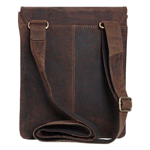 Unisex Messenger-Bag aus geöltem Buffalo-Leder in A4-Format - Extremely rugged Outback Wear Dark Muskat