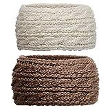 DRESHOW 2 Piezas Crochet Arco Turbante Knit Diadema Mujer Invierno Vendas Elasticas Anchas Tejida Lana Cintas Para El Pelo Banda de pelo más cálido