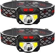 مصباح كشاف أمامي قابل لإعادة الشحن، مصباح رأس مستشعر الحركة 800 لومن مقاوم للماء IPX4، أبيض ساطع وضوء أحمر، مث