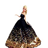 Toy - Yacool� 1 PCS High quality Fashion Wedding Party Gown Bling Dresses & Clothes for Barbie Doll- Black