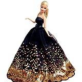 Yacool® 1 PCS de alta calidad del bordado del vestido de boda del partido de Vestidos y ropa para Barbie Doll- Negro