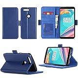 OnePlus 5T Housse Portefeuille luxe bleue Cuir Style avec stand - Etui bleu coque de...