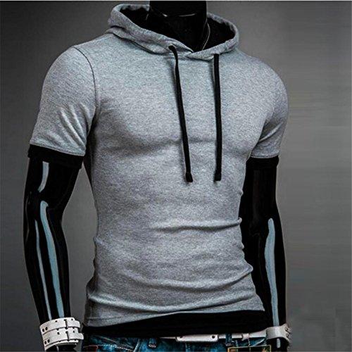 LHWY Herren Sommermode mit Kapuze Solid Herren Kurzarm T-shirt Gray