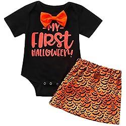 sunnymi® Jeu d'enfants Bébé Fille Halloween Lettre Imprimer Grenouillère Body + Jupes Cartoon Jupfits Coton Mélange (3M-18M)