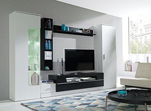 HomeDirectLTD Wohnwand Eric Anbauwand Möbel Schrank Schrankwand Wohnzimmer  Modernes Design Weiß Schwarz (Korpus: Weiß/schwarz / Front: Weiß/schwarz)