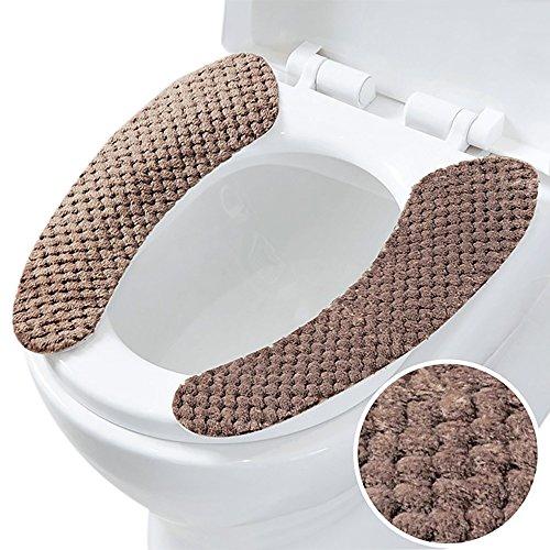 Helle Sitz (Ya Jin 3Paar Sticky dicker WC-Sitz Deckelbezug Pads Wärmer Matte waschbar helles kaffebraun)