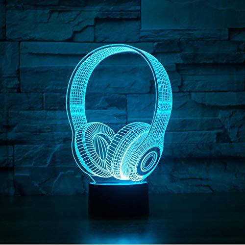 Kindergeburtstagsgeschenk beste Geschenk 3D DJ Kopfhörer Form Nachtlicht LED Tischlampe Schlafzimmer Dekoration Musik bunte Kopfhörer Schlaf Beleuchtung