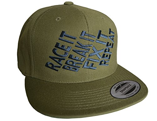 Petrolhead Industries: Race it Break it Fix it Repeat - Cap für alle Tuning-, Drift-, und Motorsport Fans - Classic Snapback von Flexfit (One Size)