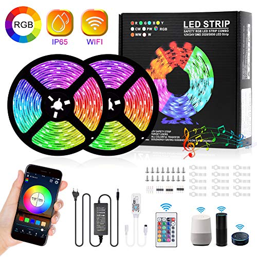 WIFI LED Streifen 10M,INHDBOX RGB LED Stripes 5050 SMD, WiFi LED Bänder 16 Millionen Farben, Sync mit Musik, IP65 Wasserdicht, Smart Telefon APP Gesteuert LED Band, Kompatibel mit Alexa, Google Home