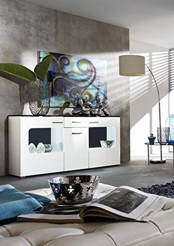 trendteam LU87302 Sideboard Wohnzimmerschrank Weiss Hochglanz, Absetzungen schwarz, BxHxT 160 x 84 x 42 cm