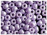50 Stück Pony Bead - Tschechische gepresste Glasperlen in Form einer Walze 5,5mm mit einem großen Loch, Pastel Purple Matte