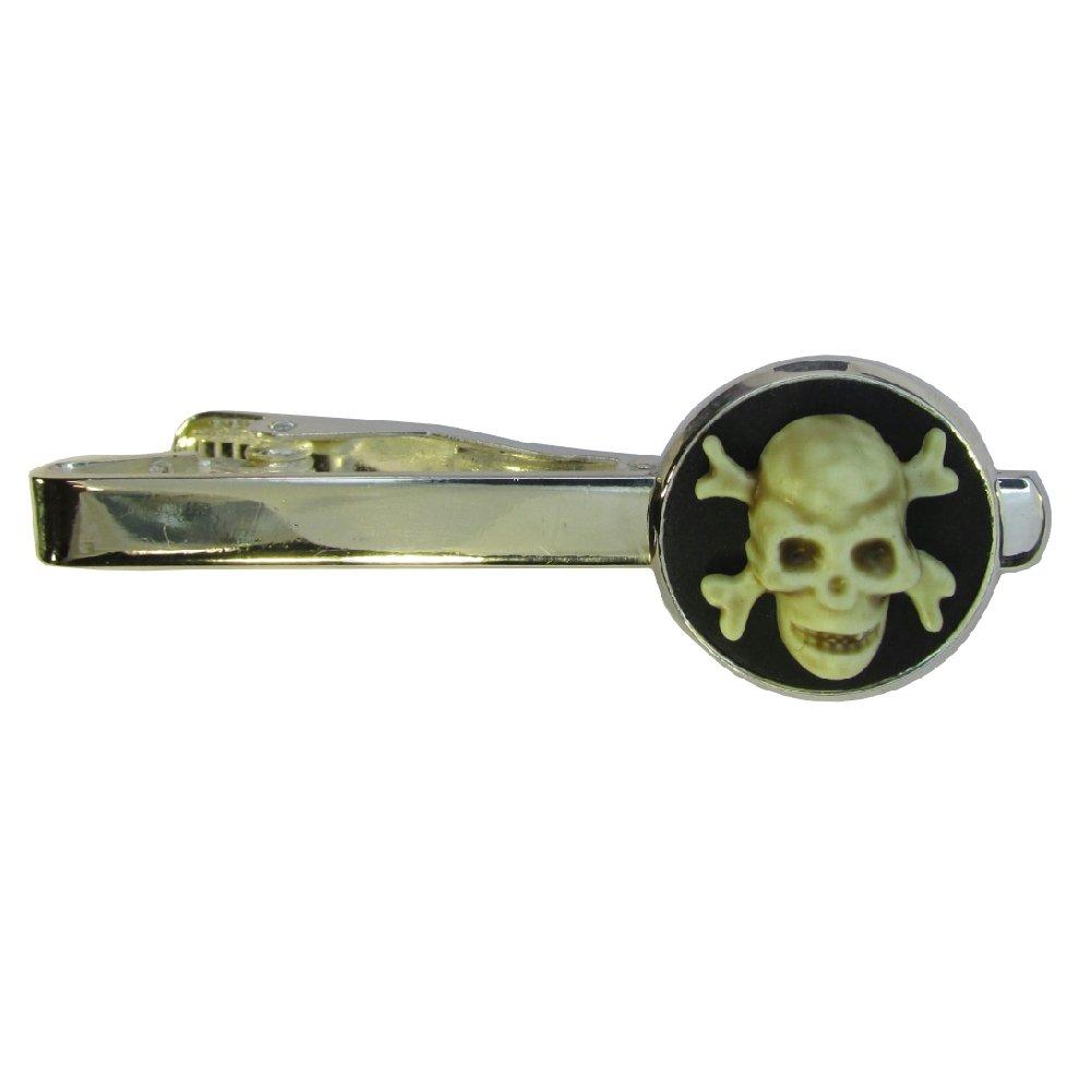 Purple Petals Jewellery Box Handmade Skull & Crossbones Pirate Inspired Silver Plated Tie Pin Slide – Boxed Mens Gift