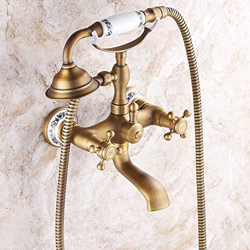 Duschsystem, Mischen von Duschsystem im europäischen Stil Kupfer antik Handbrause Dusche Wand...
