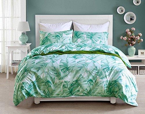Bettwäsche 200x200 Mikrofaser Grün 3 Teilig für Doppelbett Tropische Pflanzen Muster 1 Bettbezug und 2 Kopfkissenbezüge 80 x 80