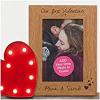 """Our First Valentines PERSONALISED Engraved Photo Frame Gifts Valentines Day - Special Gift for Couples, Husband, Wife, Boyfriend, Girlfriend - 6"""" x 4"""" and 5"""" x 7"""" Photo Frames"""