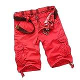 Feoya Herren Jungen Baumwolle Bermuda Cargo Shorts Cargohose Fashion Knielange Kurze Hose mit Gürtel Farbe Größe Wählbar