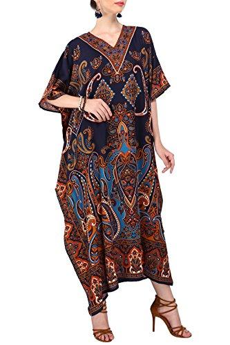 Kaftan Tunika Kimono Kleid Nachtwäsche Nachthemd Frauen Damen Sommer Abend lang Maxi Party Plus Größe Blau