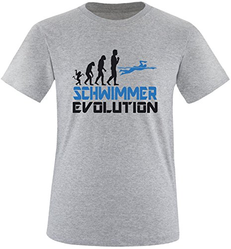 EZYshirt® Schwimmer Evolution Herren Rundhals T-Shirt Grau/Schwar/Blau