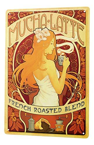 Blechschild XXL Fun Küche Nostalgie Mucha Latte französisch Kaffemühle Blumenmädchen -
