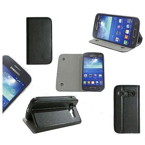 Etui luxe Samsung Galaxy Ace 3 GT-S7270 / GT-S7272 / GT-S7275 Ultra Slim Cuir Style noir avec stand - Housse coque de protection Samsung Galaxy Ace 3 S7270 / S7272 / S7275 (Wifi, 3G, 4G) - Prix découverte accessoires pochette XEPTIO : Exceptional case !