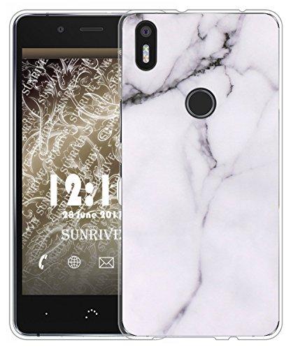 Sunrive Für BQ Aquaris X5 Plus Hülle Silikon, Handyhülle matt Schutzhülle Etui Case Backcover für BQ Aquaris X5 Plus(TPU Marmor Weißer)+Gratis Universal Eingabestift