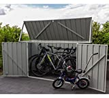 ABSCO Fahrradbox, Metallgerätebox, Fahrradgarage, Mülltonnenbox grau//225x78x115 cm//Aufbewahrungsbox